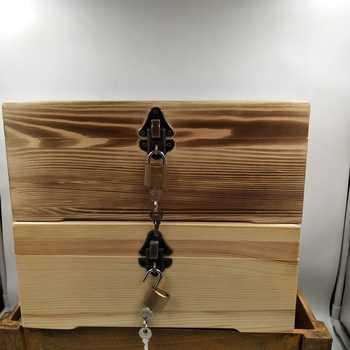 Large pine wood box customized rectangular locking storage box box gift box post Christmas trees