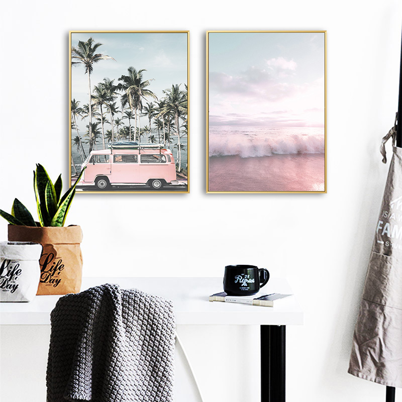 Ocean Landscape Canvas Poster Nordic Style Beach Pink Bus Wall Art Print Painting Decoration Picture Scandinavian Ocean Landscape Canvas Poster Nordic Style Beach Pink Bus Wall Art Print Painting Decoration Picture Scandinavian Home Decor