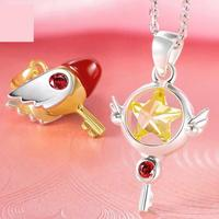 Cardcaptor Sakura Kinomoto Sakura 925 Silver Pendant Seal Star Key Necklace Sakuragi Free With Chain