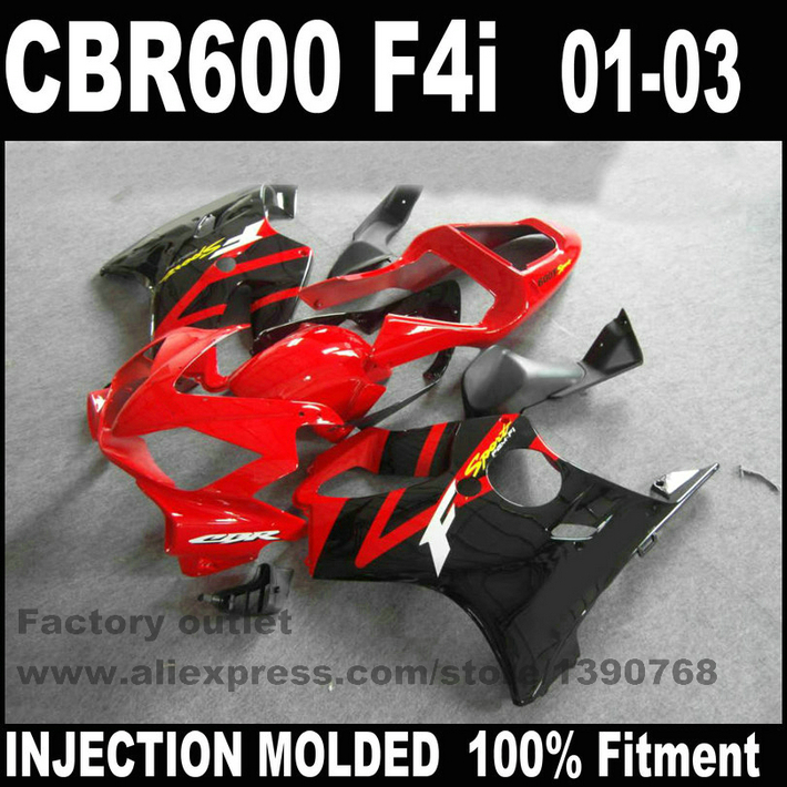 Customize Injection Molded for HONDA CBR 600 F4i fairings 01 02 03 black red CBR600 2001 2002 2003 fairing body kit RE24 bodywork injection molded for honda cbr 600 f4i fairings 01 02 03 cbr600 2001 2002 2003 black sevenstars fairing kit re70