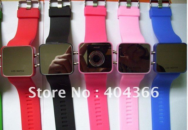 25pcs Led Mirror Watch Plastic Fashion Watches with Red LED Light Free shipping