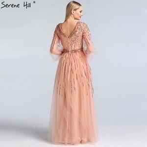 Image 3 - Dubai Design di Colore Rosa Con Scollo A V 2020 Abiti Da Sera Con Paillettes Maniche Lunghe di Lusso del Vestito Convenzionale Serena Hill LA60948