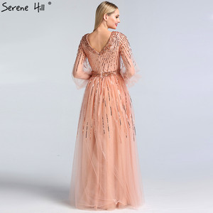 Image 3 - Dubai tasarım pembe v yaka 2020 abiye payetli uzun kollu lüks resmi elbise Serene tepe LA60948