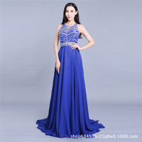 Bead Elegant Bling Bling Silver Beading Ready To Ship Stock Dress Long Navy Blue Prom Dress Long Evening Gowns Pakaian prom