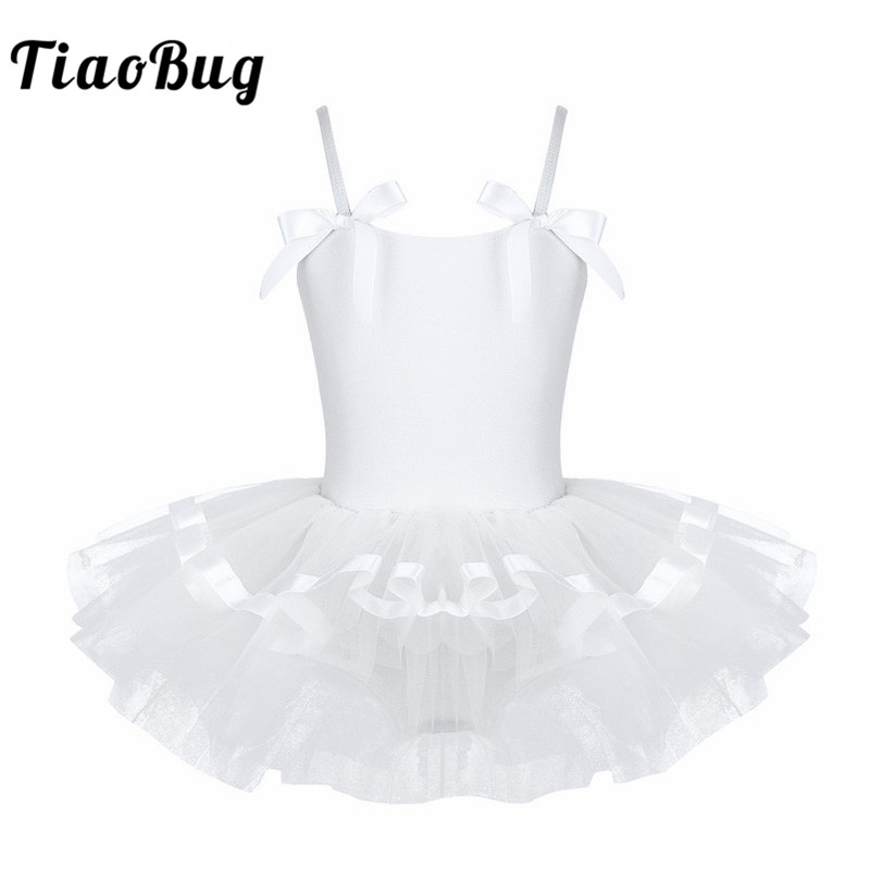 Tiaobug Child Sleeveless Bowknot Ballerina Dance Leotard Girls Gymnastics Leotard Princess Ballet Tutu Dress Kids Dance Costume