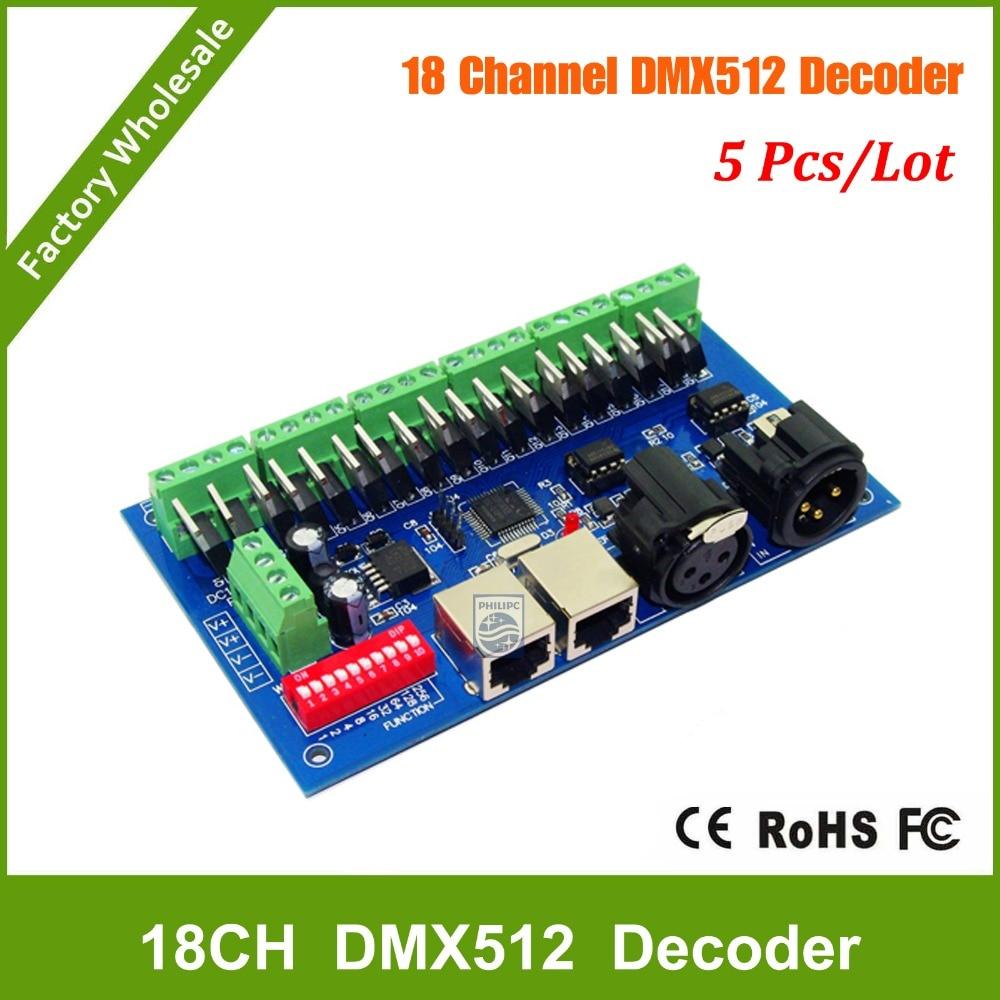 DHL Free shipping 5PCS 18CH RGB DMX512 Controller, dmx 512 dimmer,LED DMX512 decoder dhl ems free shipping 5pcs lot dmx 512 wireless console receiver 2 4g wireless dmx512 r t