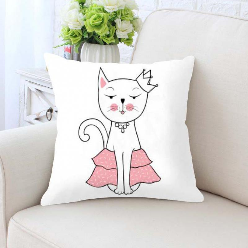 Cute Kawaii Funny Cat Pillow Pink Cats Meow Girl Anime Plush Printed Fabric Decorative Cushions For Home Kids Bedroom Decor
