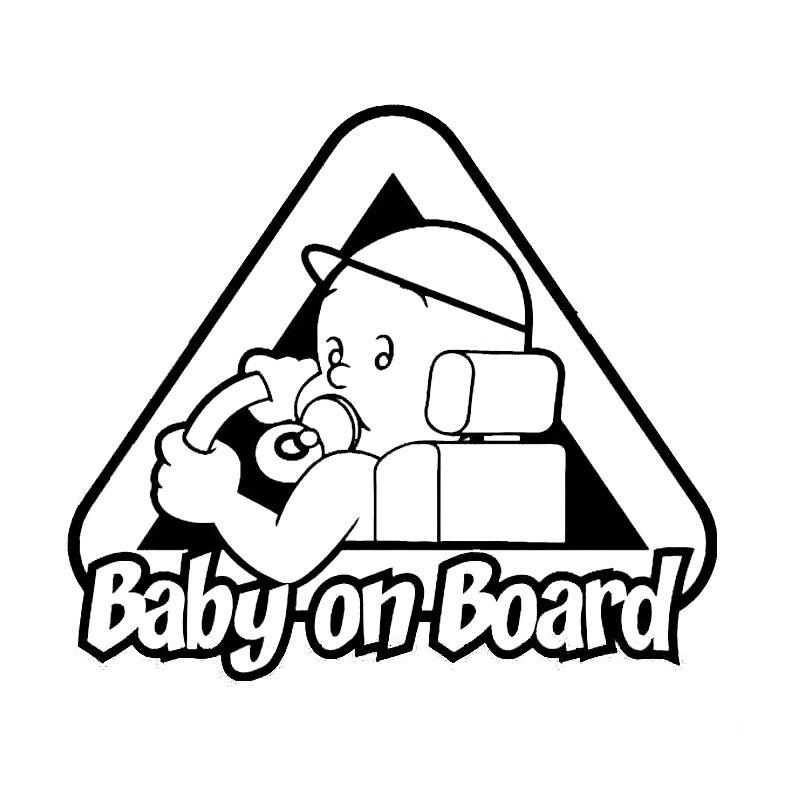 14*12.4CM BABY ON BOARD Car Windows Vinyl Decal Cartoon Warning Stickers C4-0870