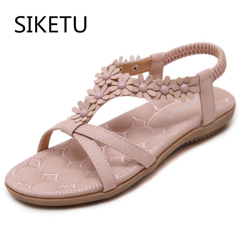 1fb51d55fbd3 SIKETU New Sweet Women Sandals Women Shoes Flower Flat Heel Women Casual  Shoes Women Plus Size 35-41 Wholesale Free Shipping