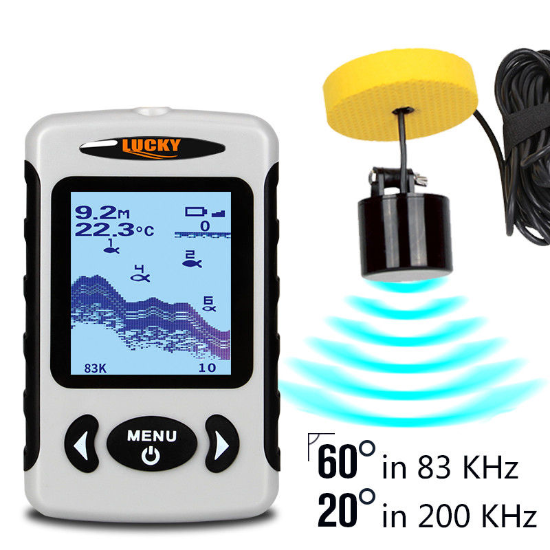 LUCKY FF718D 60 Degree 2.2 CD White LED Wired Sonar Alarm 100M/328FT Depth Fish Finder FF718D 200/80KHz English/ Russian/Deutsch lucky ff 718 duo с зимним датчиком