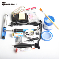 220V 60W Adjustable Temperature Electric Soldering Iron Solder Station With 6pcs Iron Tip Paste Flux Welding Repair Tool Kit Electric Soldering Irons