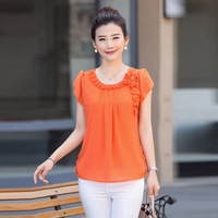 New 2016 Mother Clothing Summer Chiffon T Shirt Middle Age Women Fashion Short Sleeve Top Plus