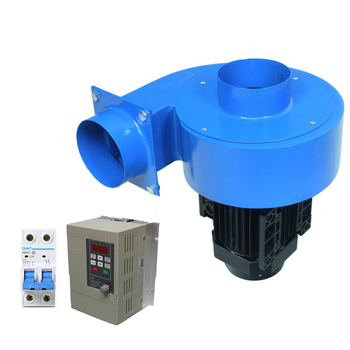 цена на 0.75kw stepless speed VFD regulate industrial hot air dust exhaust blower centrifugal fans 220v with 110mm pipe