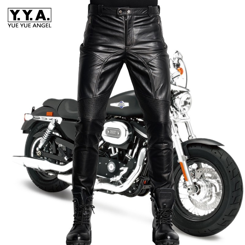Italy 2020 New Men Motor Biker Skinny Pants Luxury Genuine Leather Slim Fit Motorcycle Male Trousers Black Rock Pantalon Hombre