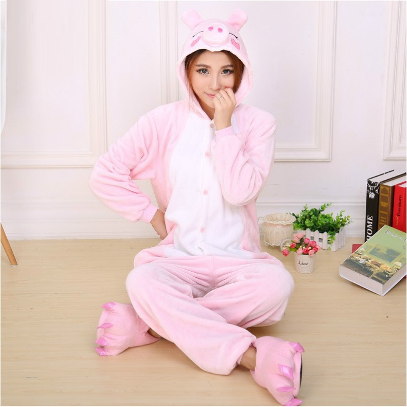 Pink Pig Cartoon Pajamas Winter Flannel Animal Warm Sleepwear Adult Couples Sleepwear Kugurumi Cheap Adult Animal Onsies B-5802