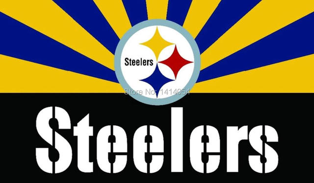 Pittsburgh Steelers Logo Wordmark With Sunrise Flag Nfl 3x5ft Banner