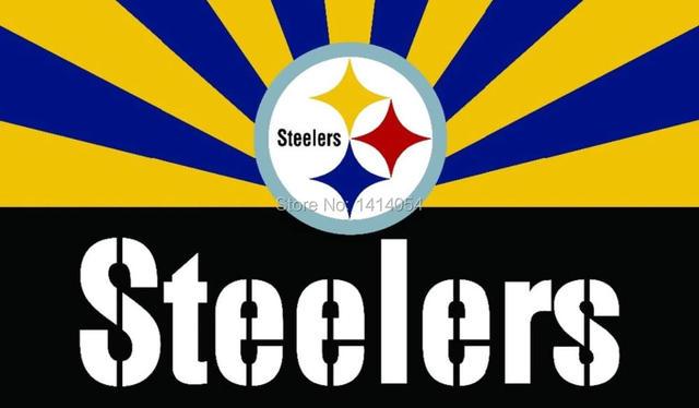Pittsburgh Steelers Logo Wordmark With Sunrise Flag NFL 3X5FT Banner 100D Polyester Grommets Custom Free