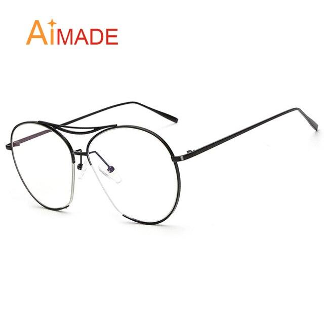 43a090fafe15 Aimade Oversize Fashion Optical Aviation Eyeglasses Women Men Retro Unique  Semi-Rimless Goggle Pilot Sun