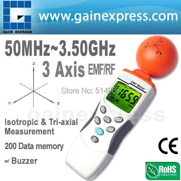 3-axis EMF ELF RF Electromagnetic Wave Field Strength Radiation ElectroSmog Microwave Meter 38mV to 11V/m Range Taiwan Made  цены