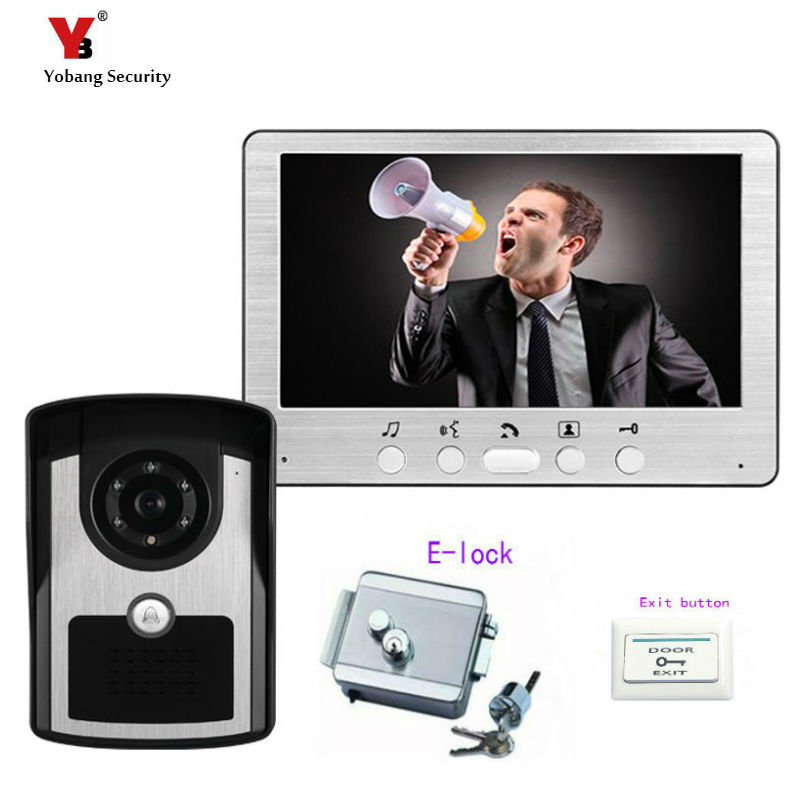 Yobang Security Freeship 7 Inch video intercom Video Door Phone Doorbell Intercom Kit camera monitor Night Vision+Electric lock yobang security 7 inch video door phone visual doorbell doorphone intercom kit with metal villa outdoor unit door camera monitor
