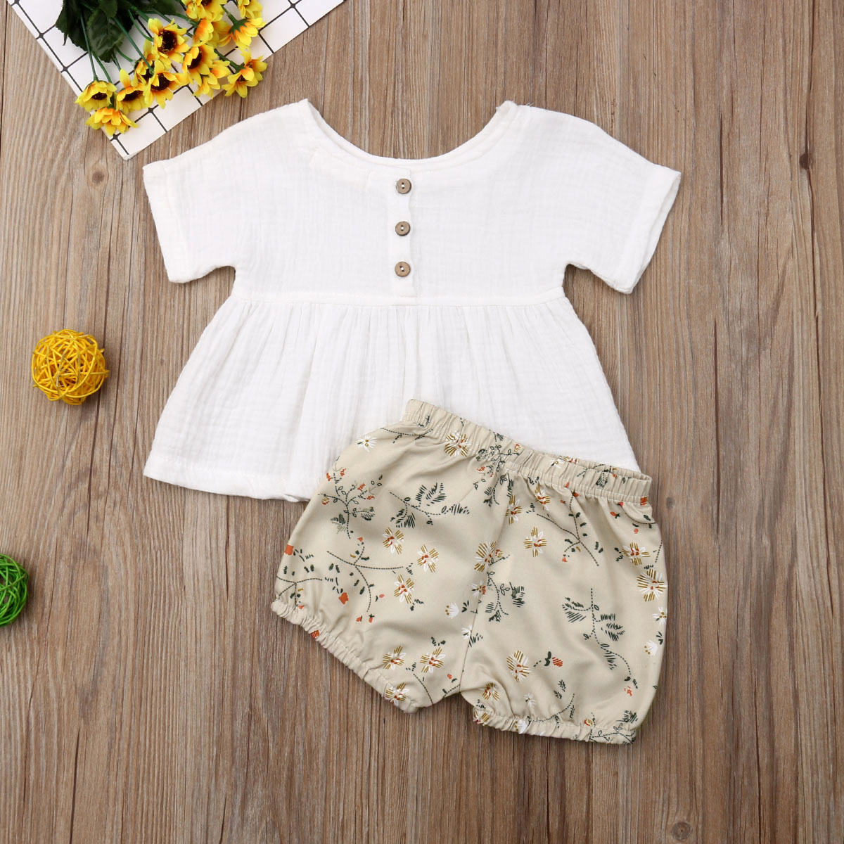 Newborn Baby Girl Clothes Short Sleeve Ruffle Top+Flower Print Short Pants 2pcs Outfits Cotton Clothes
