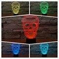 USB 3D Cráneo Multicolor de la Ilusión Óptica LED de Luz Mesa de Noche Lámpara de Escritorio Remoto de Iluminación para las Decoraciones De Halloween Navidad