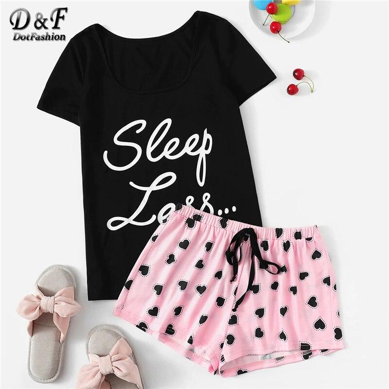 Dotfashion Slogan Tee And Heart Print Drawstring Waist Shorts PJ Set 2019 Summer Pajamas For Women Casual Short Sleeve Sleepwear