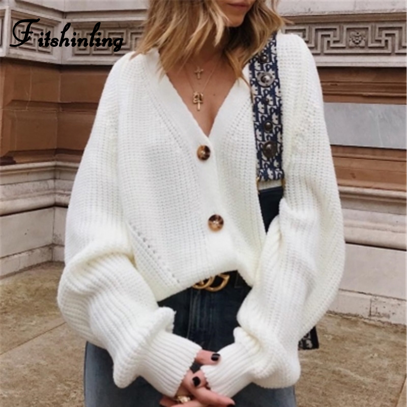 Fitshinling Buttons Up Sweater Cardigan Women Knitwear V Neck Women's Clothing Winter 2019 Cardigan Korean Style Cardigans Sale
