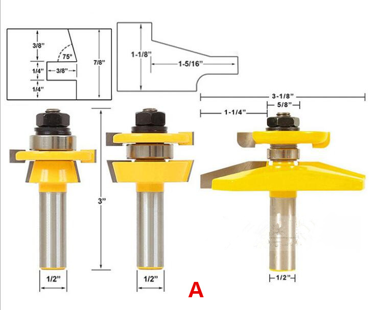Freeshipping Door Router Bit with 3pcs/lot Ogee 1/2-Inch Shank Cutter Router Door Woodworking Carpentry Kit Bevel tenon knife 1 2 door nail cutter knife household west tenon joints fit together stitching carpentry knife blade 3pcs et