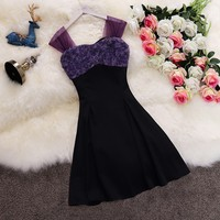 Taotrees Lady Summer Square Collar Sleeveless Color Block 3D Flower Dress