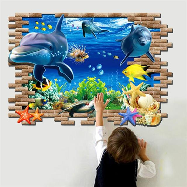 new sea whale fish 3d wall stickers for kids room decoration diy pvc sticker wallpaper decals bathroom decoration