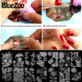 BlueZoo 10 unidades/pacote Azul Filme Prego Retangular Template Stencil Modelo de Impressão de Unhas Adesivos Prego Etiqueta do Prego Decalque Dica de Beleza