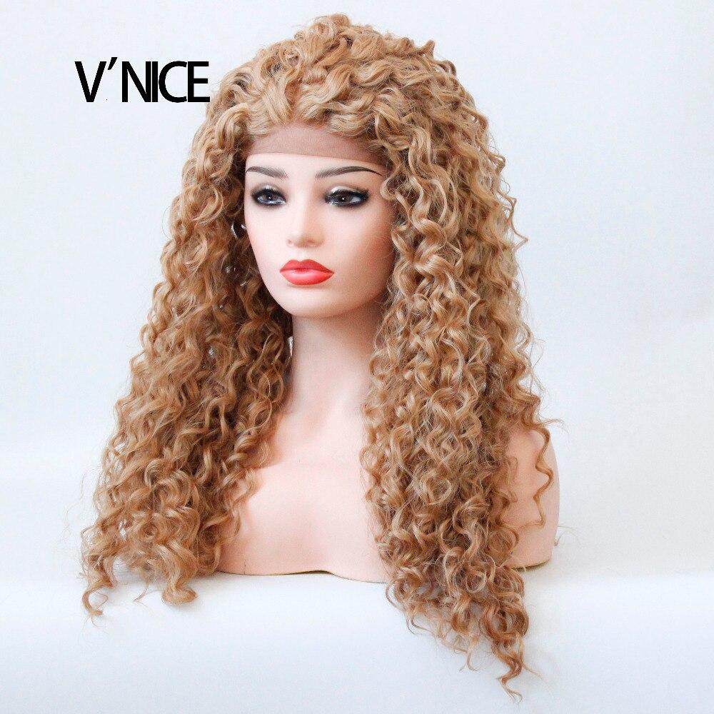 VNICE Мёд блондинка парик Блондинка клубники бесклеевого синтетический Синтетические вол ...