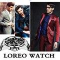 Alibaba Marca Premium LOREO Original Negócio Mecânico Homens Relógio de Aço Inoxidável À Prova D' Água Resistente Ao Choque Reloj Digital A53