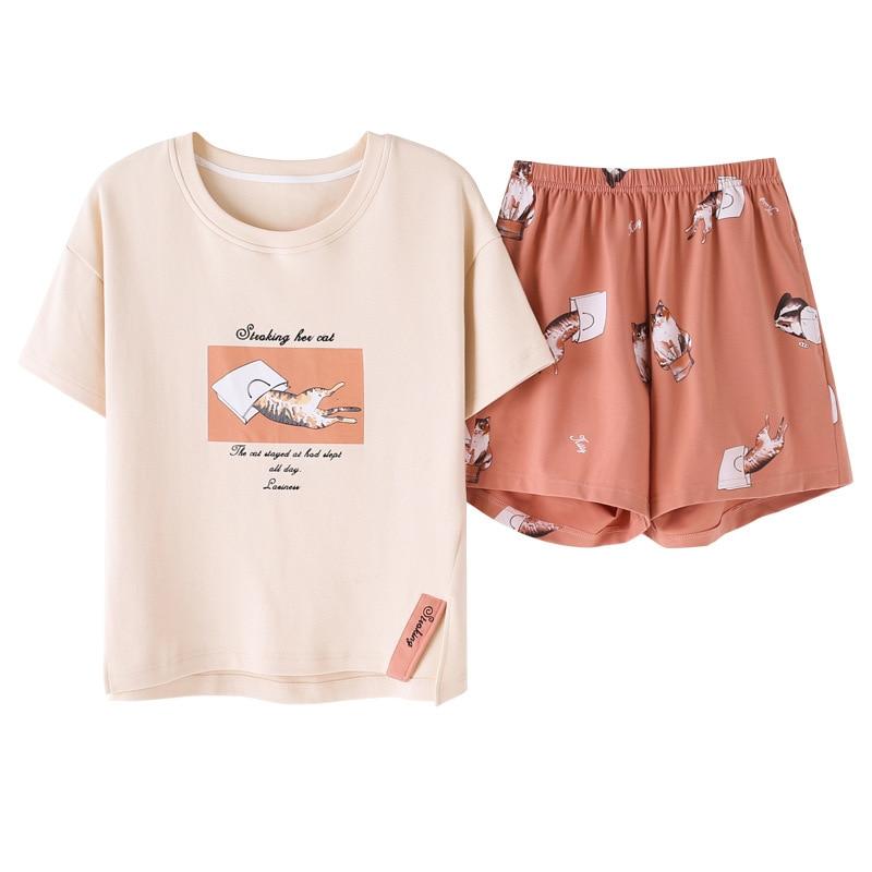Cartoon Print Cat Women Cotton Pajama Set Korean Spring Summer 2019 Short Sleeve Elastic Waist Sleepwear Lounge Pyjamas S93208