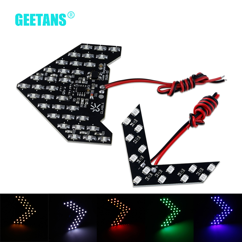 2PCS/Set 33/14 SMD LED Arrow Panels Car Side Mirror Turn Signal Indicator Sequential 5 Colors Flash Light Lamp AC