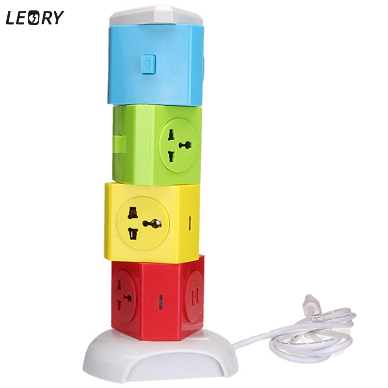 LEORY EU MỸ Cắm 2 USB + 7 Outlet Điện phích cắm Sockets Power Dải Tiêu Chuẩn Tường Đa Chức Năng Ổ Cắm Dây Cáp phích cắm