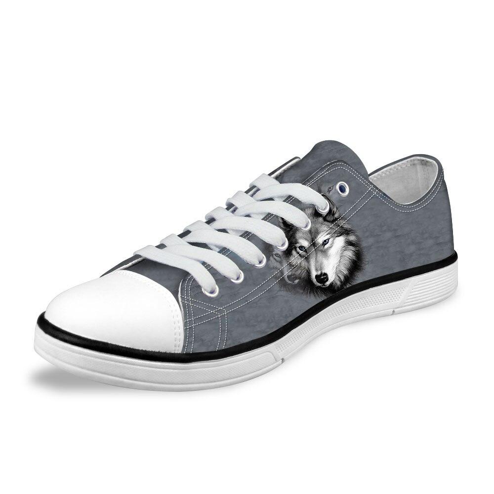 Personnalisé nouveau 2019 mode hommes bas Style vulcanisé chaussures 3D animaux gris Husky imprimé hommes toile chaussures décontracté homme appartements