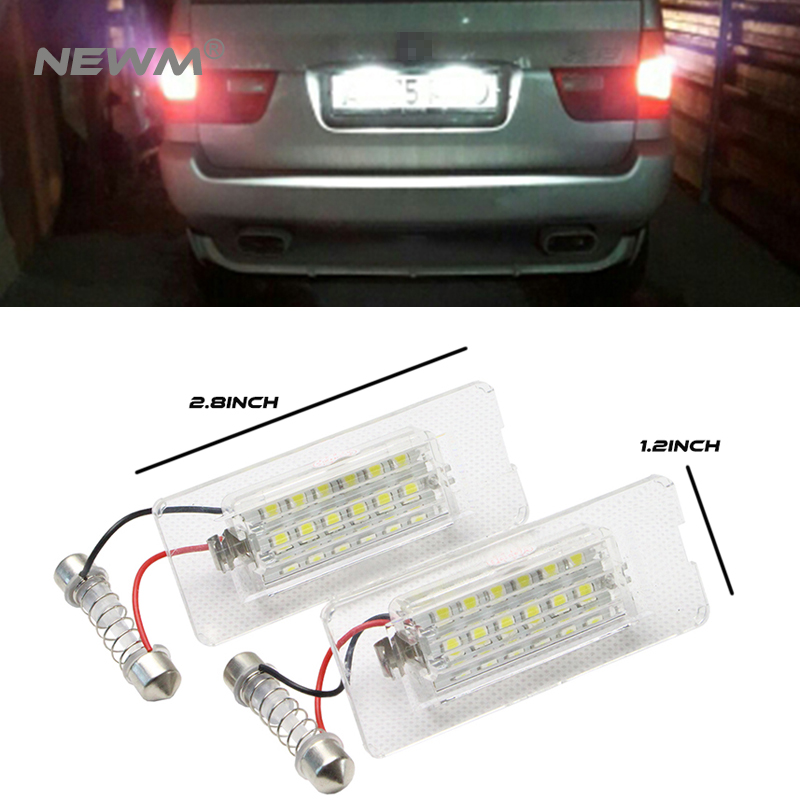 2pcs Car LED License Plate Lights12V For BMW X5 E53 X3 E83 Accessories 2X White SMD3528 LED Number Plate Lamp Canbus Bulb Kit 2pcs car led number license plate lights lamp frame 12v white smd led bulb kit for chevrolet cruze camaro 2010 2014 accessories