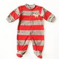 Navidad Mamelucos Del Bebé Rayado Rojo Fleece Mameluco Para El Bebé Niños Niñas Ropa de Bebé Mameluco Del Invierno Con el Pie Del Bebé de la Navidad