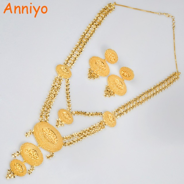 Anniyo Arabic Gold Jewelry Copper Long Necklace and Earrings For Women Wedding Jewelry Sets For Bride Ethiopian/African #014623