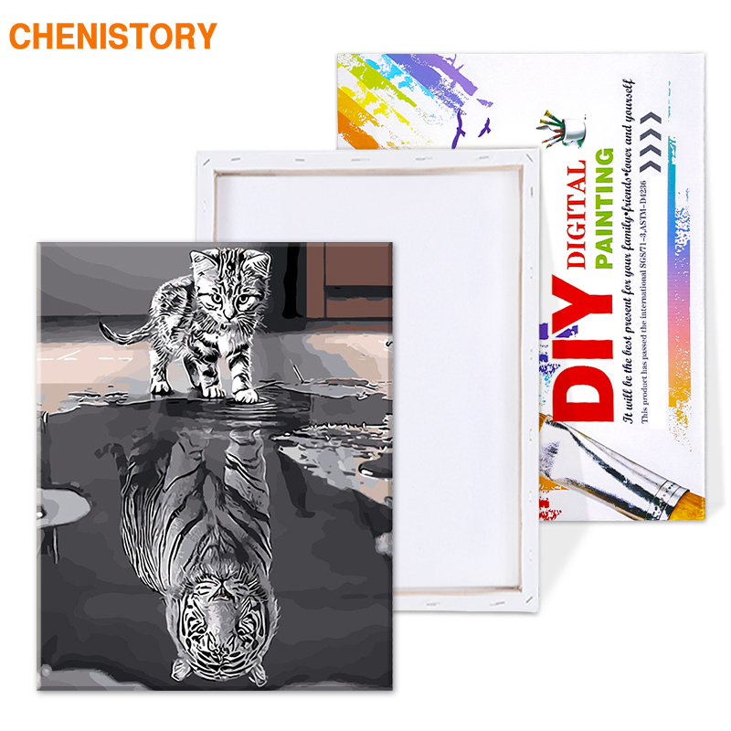 HTB1D4nFT6TpK1RjSZKPq6y3UpXau CHENISTORY Frameless Reflection Cat Animals DIY Painting By Numbers Modern Wall Art Canvas Painting Unique Gift For Home Decor