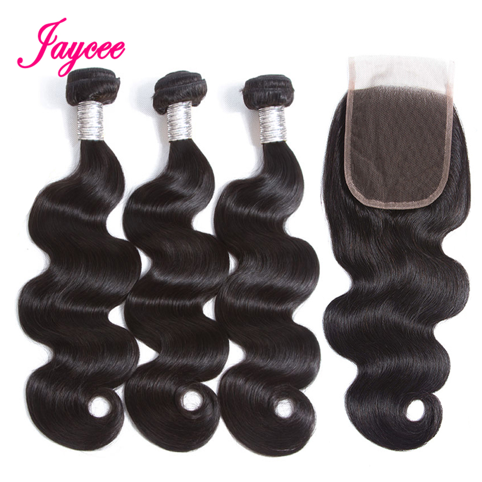 Jaycee Hair Extensions Brazilian Hair Weave 3/4 Bundles With Lace Closure Body Wave Human Hair Bundles With Closure Non-remy
