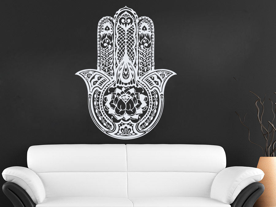 56x71cm Art Design Hamsa Hand Wall Decal Vinyl Fatima Yoga Vibes Sticker Indian Buddha Home Decor Lotus Pattern Mural
