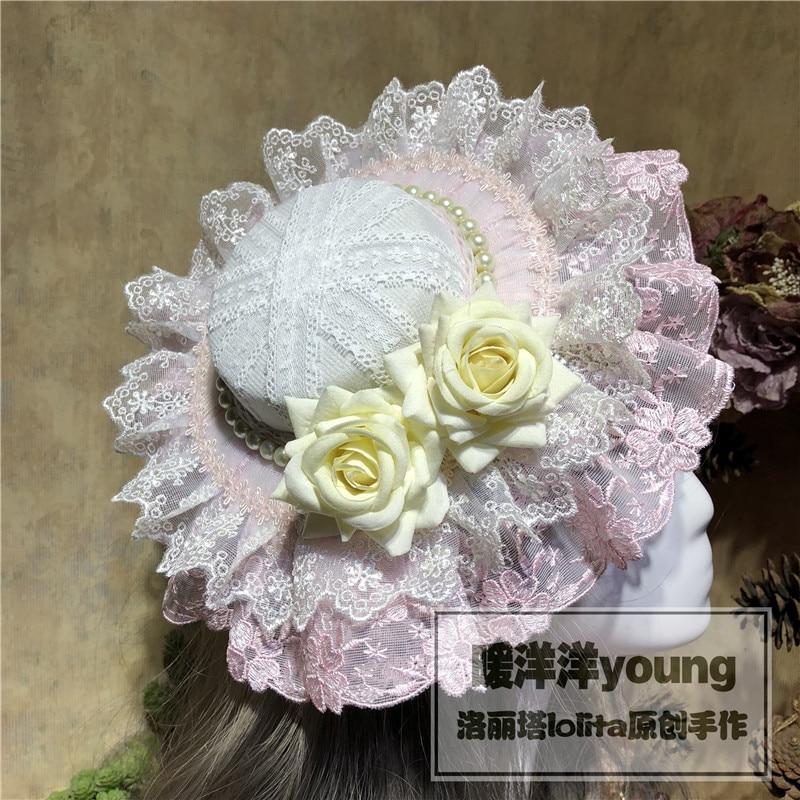 Handmade Vintage Lolita Pink Top Hat Hair Accessories Rose Headwear Cosplay Princess Party Cap Victorian Costume hats Hairpin