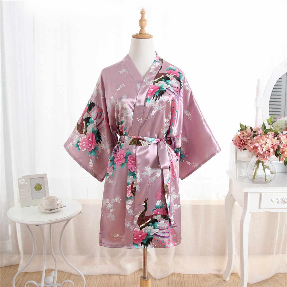 Novas Mulheres Cetim Curto Camisola Kimono Robe Roupão Pijama Florais Do Casamento Da Noiva Da Dama de honra Vestido Vestido Sexy Um Tamanho Plus Size