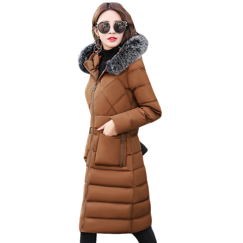 High Quality 2017 Winter Jacket Women Elegant Long Slim Large Fur Warm Hooded Down Cotton Parkas Thick Female Wadded Coat CM1779 2017 new pink long winter jacket coats women parkas super large fur hooded coat thick warm down cotton padded slim parkas cm1846