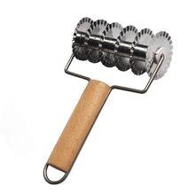 Горячее предложение-нержавеющая сталь+ деревянный тянущийся сетчатый нож пицца выпечка решетка роликовый резак пицца выпечка решетка роликовый Резак Ремесло