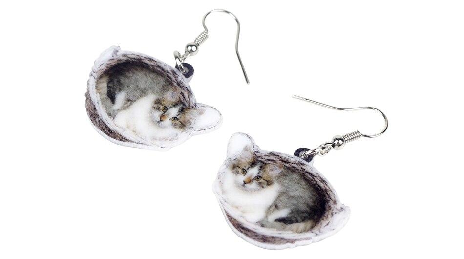 Acrylique panier chaton chat boucles d/'oreilles Dangle Fashion Pet Bijoux Pour Femmes Enfant Cadeau