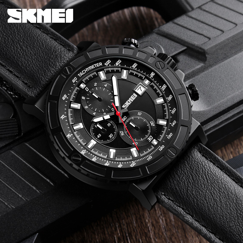 SKMEI Top Luxury Brand Fashion Stopwatch Sport Men's Watches Leather Army Military Wristwatch Quartz Clock Man Watch Relogios skmei 6911 womens automatic watch women fashion leather clock top quality famous china brand waterproof luxury military vintage